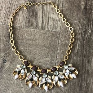 J.Crew Brass Fall Stones Statement Chunky Necklace
